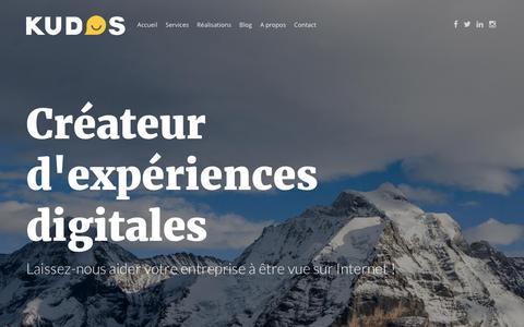 Screenshot of Home Page kudos.ch - Kudos Communication Digitale - Web marketing, réseaux sociaux, SEO et photographie - captured Feb. 12, 2016