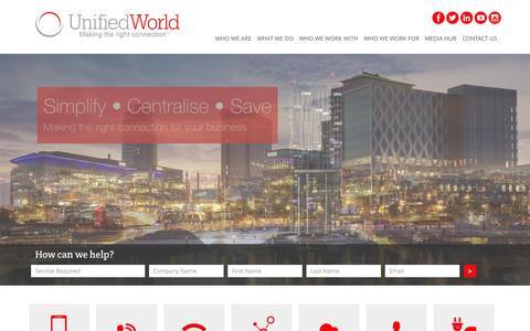 Screenshot of Home Page unifiedworld.co.uk - Unified World | Unified World Communications - captured Aug. 16, 2015