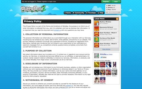 Screenshot of Privacy Page bittybay.com - Privacy Policy – BittyBay – Online Virtual Animal Kingdom - captured Sept. 23, 2014