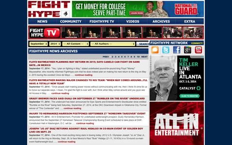 Screenshot of Press Page fighthype.com - FIGHTHYPE NEWS ARCHIVES - captured Sept. 19, 2014