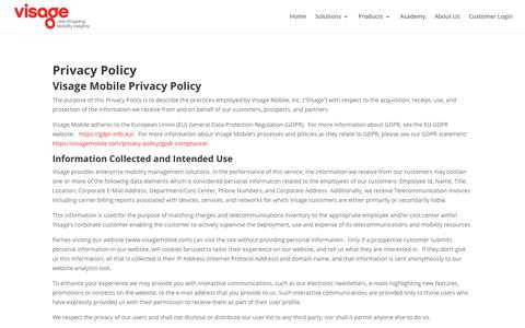 Screenshot of Privacy Page visagemobile.com - Visage - Privacy Policy - captured Sept. 21, 2018