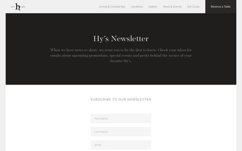 Screenshot of Signup Page hyssteakhouse.com - Hy's Steakhouse & Cocktail Bar — Sign Up For Our Newsletter - captured Nov. 15, 2016