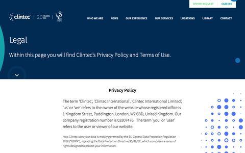Screenshot of Terms Page clintec.com - Legal | Clintec - captured Sept. 28, 2018