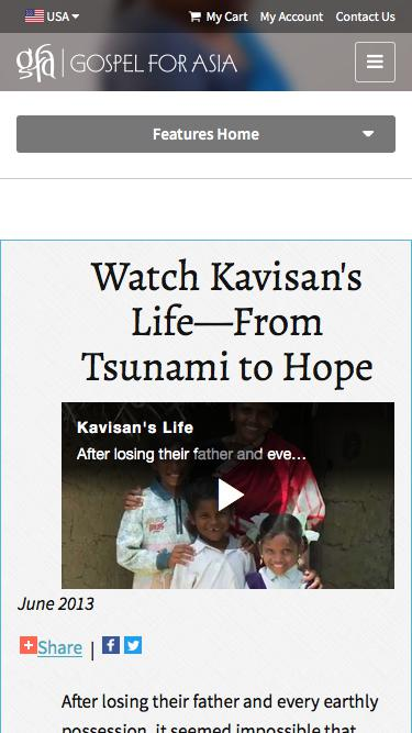 Screenshot of Press Page  gfa.org - Watch Kavisan's Life—From Tsunami to Hope - Gospel for Asia