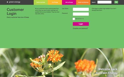 Screenshot of Login Page greenenergyuk.com - Login | Green Energy UK - captured Dec. 21, 2016