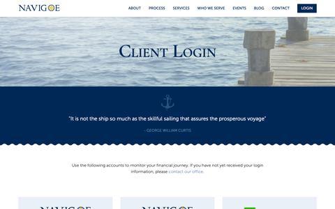 Screenshot of Login Page navigoe.com - Navigoe Login - Fee Only Financial Planning - captured Oct. 18, 2018