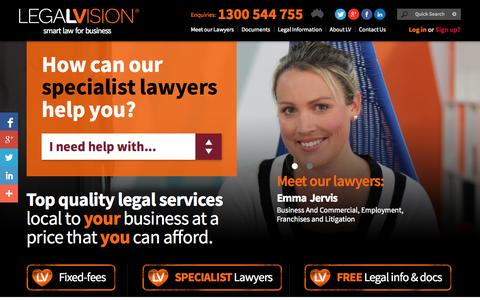 Screenshot of Home Page legalvision.com.au - Online Legal Services - Affordable and Easy | LegalVision - captured Sept. 23, 2014