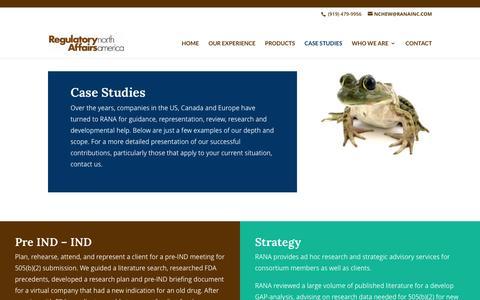 Screenshot of Case Studies Page ranainc.com - Case Studies - Regulatory Affairs North America, Inc. - captured Oct. 21, 2017