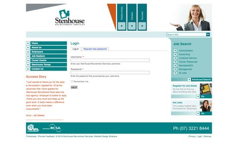 Screenshot of Login Page stenhouserecruitment.com.au - Login - Stenhouse Recruitment Services - captured Aug. 16, 2016
