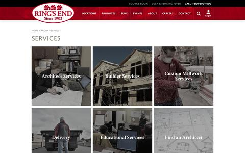 Screenshot of Services Page ringsend.com - Services -- Ring's End - captured Feb. 28, 2016