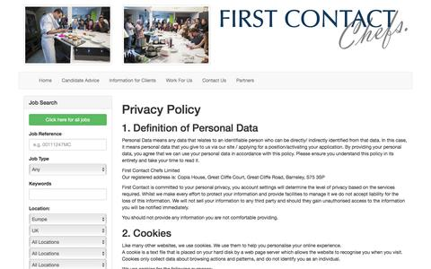 Screenshot of Privacy Page firstcontactchefs.com - First Contact Chefs Recruitment: Resourcing Solutions for the Hotel and Catering Industry - captured Aug. 13, 2018