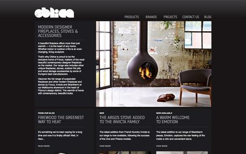 Screenshot of Home Page oblica.com.au - Oblica Melbourne | Modern Fireplace Designs | Suspended Fireplaces - captured Oct. 7, 2014