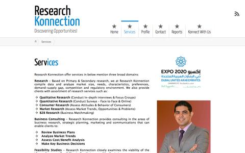 Screenshot of Services Page researchkonnection.com - Services ← Research Konnection - captured Oct. 7, 2014