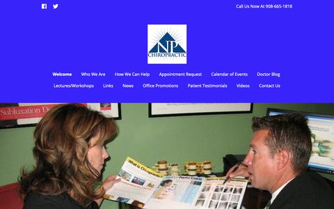 Screenshot of Home Page npchiro.com - Welcome - New Providence Chiropractic (New Providence, NJ 07974) - captured Oct. 18, 2018