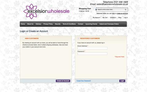 Screenshot of Login Page excelsiorwholesale.co.uk - Customer Login - captured Sept. 30, 2014
