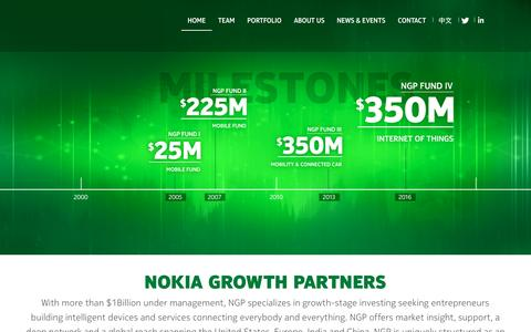 Screenshot of Home Page nokiagrowthpartners.com - Investing in growth-stage companies |Nokia Growth Partners - captured Feb. 21, 2016