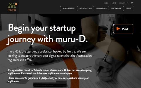 Screenshot of Home Page muru-d.com - Muru Digital - An Australian Start-up Accelerator - captured Sept. 23, 2014