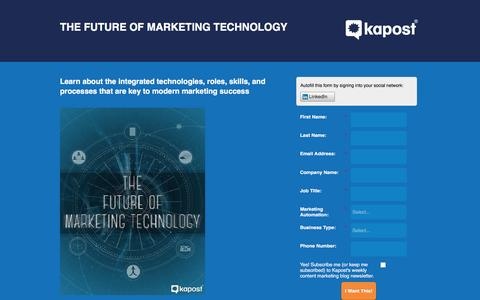 Screenshot of Landing Page kapost.com - The Future of Marketing Technologies - captured March 14, 2016