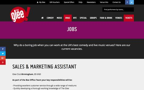 Screenshot of Jobs Page glee.co.uk - Jobs - The Glee - captured Nov. 7, 2016