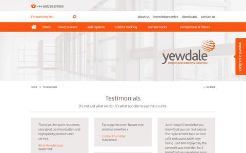 Screenshot of Testimonials Page yewdale.co.uk - Testimonials - Yewdale - captured Jan. 10, 2016