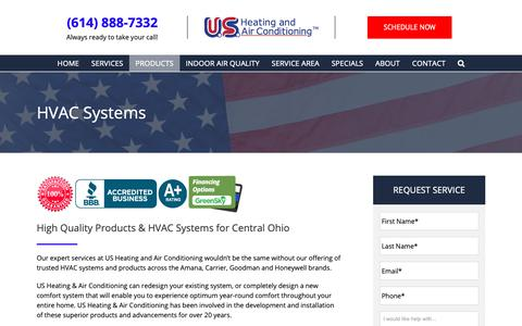 Screenshot of Products Page usheating.com - HVAC Systems - Get the Products You Need For Peace of Mind - captured Oct. 2, 2018