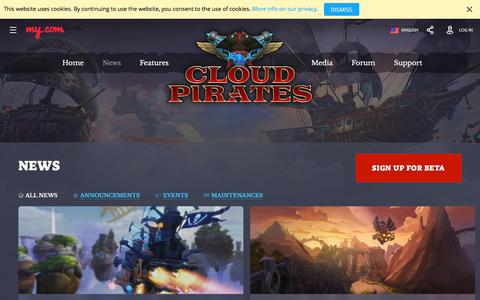 Screenshot of Press Page my.com - News | Page 2 | Cloud Pirates - Official Website - captured Nov. 23, 2016