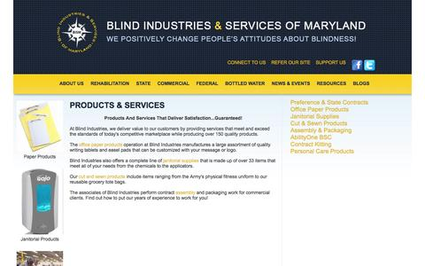 Screenshot of Products Page bism.org - Blind Industries and Services of Maryland - Products & Services - captured Oct. 5, 2014
