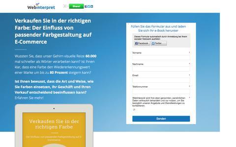 Screenshot of Landing Page webinterpret.com - Online Verkauf: Verkaufen Sie in der richtigen Farbe - captured Nov. 5, 2016