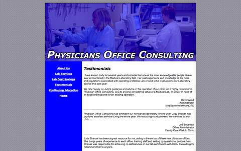 Screenshot of Testimonials Page polconsultant.com - Testimonials | Physcians Office Consulting - captured Oct. 2, 2014