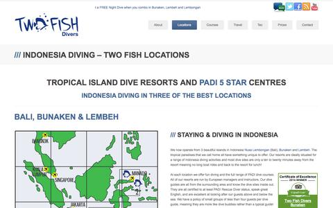 Screenshot of Locations Page twofishdivers.com - Indonesia diving - Two Fish Locations - Two Fish Divers - captured Sept. 30, 2014