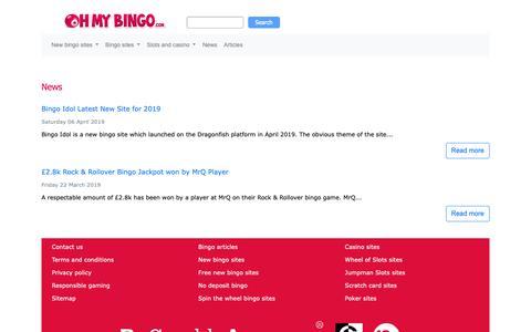 Screenshot of Press Page ohmybingo.com captured April 21, 2019