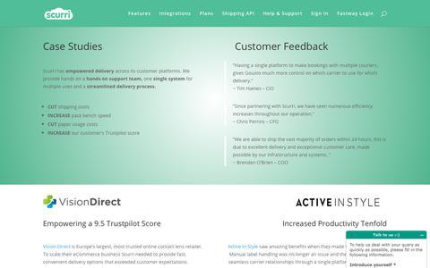 Screenshot of Case Studies Page scurri.co.uk - Scurri | Delivery Software | eCommerce Merchants | Case Studies - captured July 13, 2018