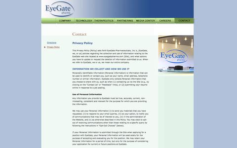 Screenshot of Privacy Page eyegatepharma.com - EyeGate Pharma : Contact : Privacy Policy - captured Sept. 13, 2014