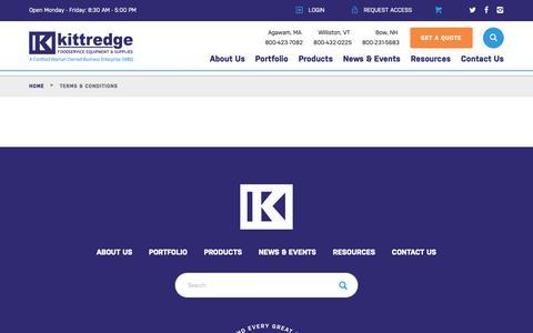 Screenshot of Terms Page kittredgeequipment.com - Kittredge Restaurant Equipment |   Terms & Conditions - captured Oct. 15, 2018