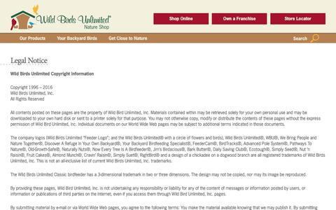 Screenshot of Terms Page wbu.com - Legal Notice - Wild Birds Unlimited | Wild Birds Unlimited - captured Aug. 28, 2016