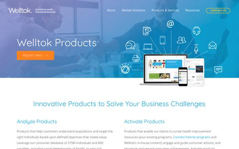 Screenshot of Products Page welltok.com - Products & Services | Welltok Suite of Products | Welltok - captured June 14, 2019