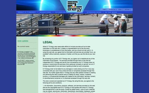 Screenshot of Terms Page e-tenergy.com - E-T Energy | Legal - captured Oct. 1, 2014