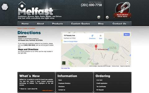 Screenshot of Maps & Directions Page melfast.com - Directions :: Melfast Wholesale Fasteners - captured Oct. 4, 2014