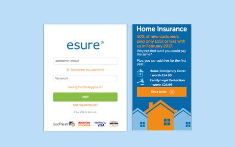 screenshot of login page esurecom log in esure captured dec
