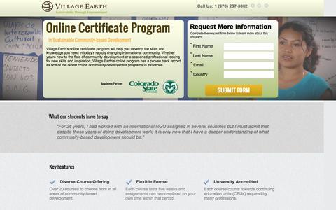 Screenshot of Landing Page villageearth.org - Online Certificate Program in Sustainable Community-Based Development - captured April 15, 2016