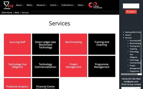 Screenshot of Services Page zyen.com - Services                                                                - Z/Yen - captured Oct. 18, 2018