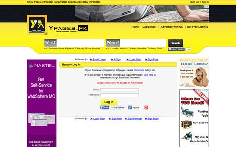 Screenshot of Login Page ypages.pk - Sign In | Business Login Centre | Member Login | Ypages.pk - captured Oct. 27, 2014
