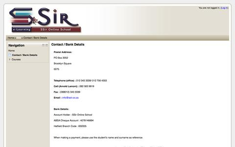 Screenshot of Contact Page ssir.co.za - SSir: Contact / Bank Details - captured Sept. 30, 2014