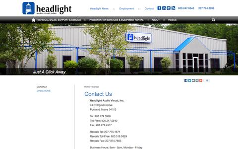 Screenshot of Contact Page headlightav.com - Contact Us Today For More Information About Our Audio Visual Services In Portland, Maine :: Headlight audio visual video - captured Oct. 2, 2014