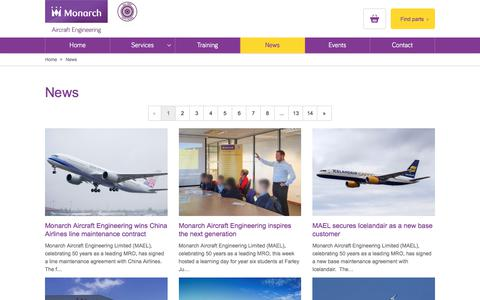 Screenshot of Press Page monarchaircraftengineering.com - News and latest developments - Monarch Aircraft Engineering - captured Nov. 4, 2017
