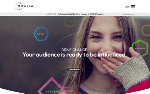 Screenshot of Home Page qualia-media.com - Qualia Media - captured Jan. 15, 2015