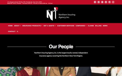 Screenshot of Team Page northerninsuring.com - Company Directory | Northern Insuring Agency, Inc. - captured Dec. 10, 2016