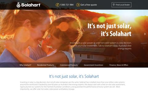Screenshot of Home Page solahart.com.au - Solahart Solar Hot Water, Solar Power, and Battery Storage - captured Oct. 20, 2017