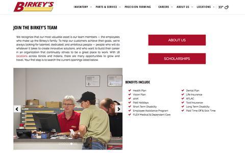 Screenshot of Jobs Page birkeys.com - Jobs | Birkey's Farm Store | Champaign - captured April 17, 2018