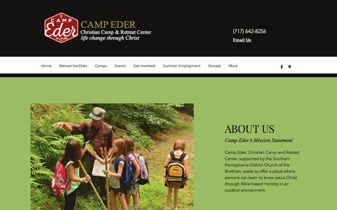 Screenshot of About Page campeder.org - About Our Camp | Camp Eder - captured July 2, 2018